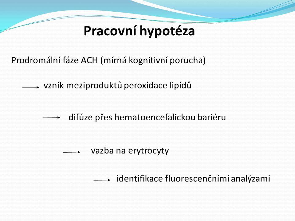 Pracovní hypotéza Prodromální fáze ACH (mírná kognitivní porucha) difúze přes hematoencefalickou bariéru vazba na erytrocyty identifikace fluorescenčními analýzami vznik meziproduktů peroxidace lipidů