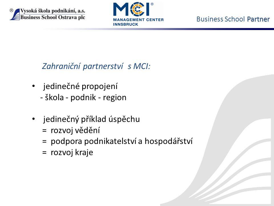 Partner Business School Partner Zahraniční partnerství s MCI: jedinečné propojení - škola - podnik - region jedinečný příklad úspěchu = rozvoj vědění = podpora podnikatelství a hospodářství = rozvoj kraje