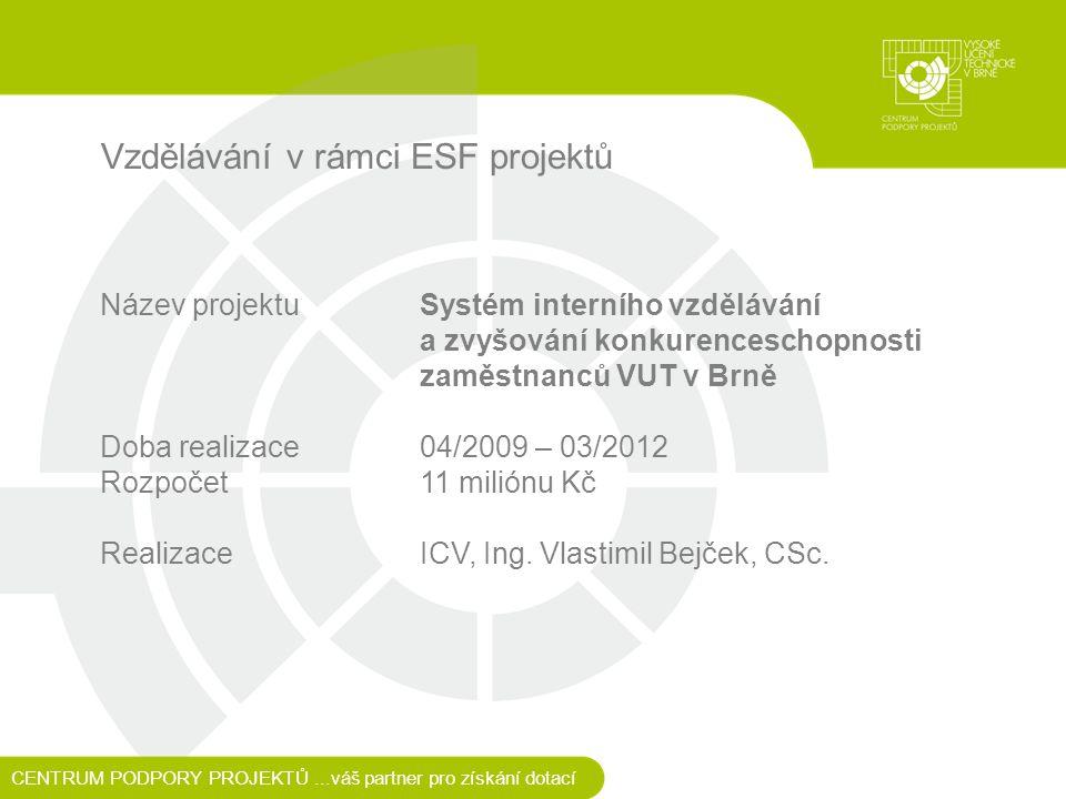 Vzdělávání v rámci ESF projektů Název projektu Systém interního vzdělávání a zvyšování konkurenceschopnosti zaměstnanců VUT v Brně Doba realizace 04/2009 – 03/2012 Rozpočet11 miliónu Kč RealizaceICV, Ing.