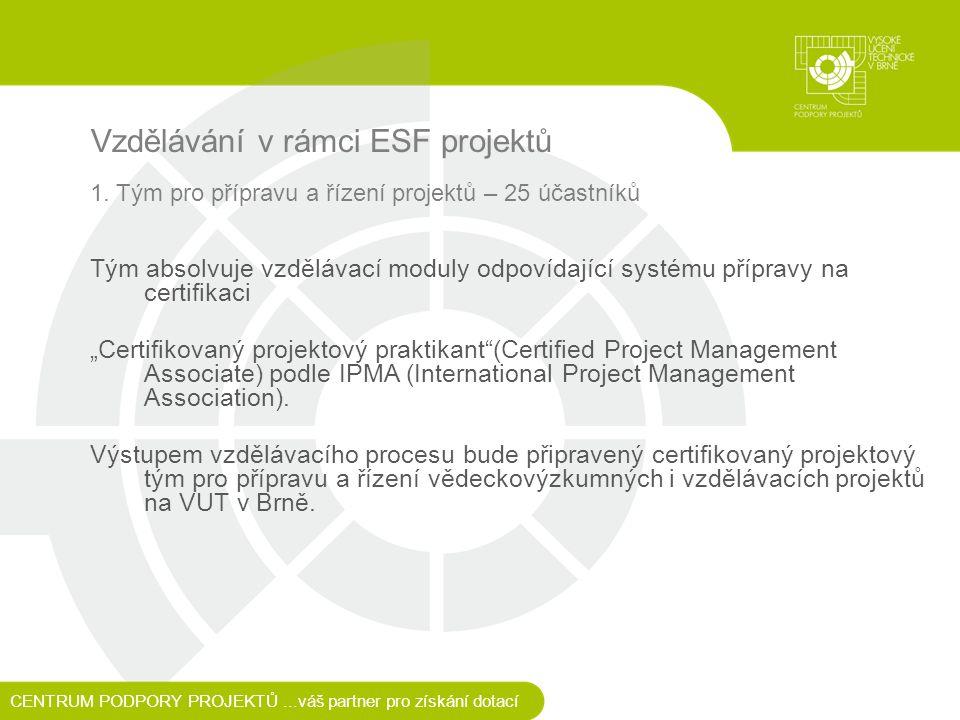 Vzdělávání v rámci ESF projektů 1.