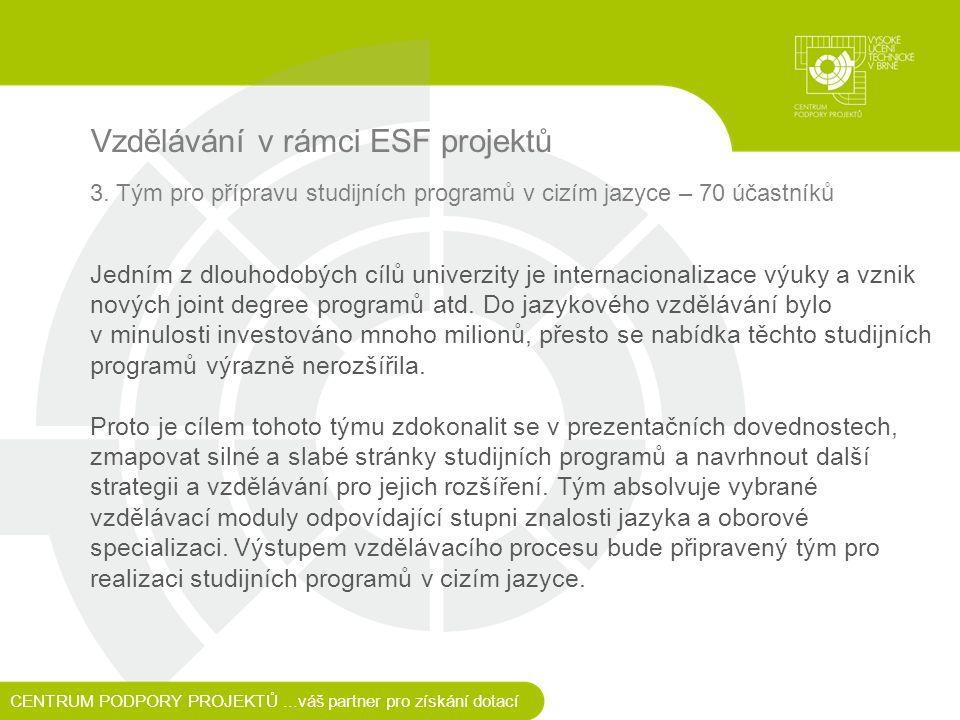 Vzdělávání v rámci ESF projektů 3.