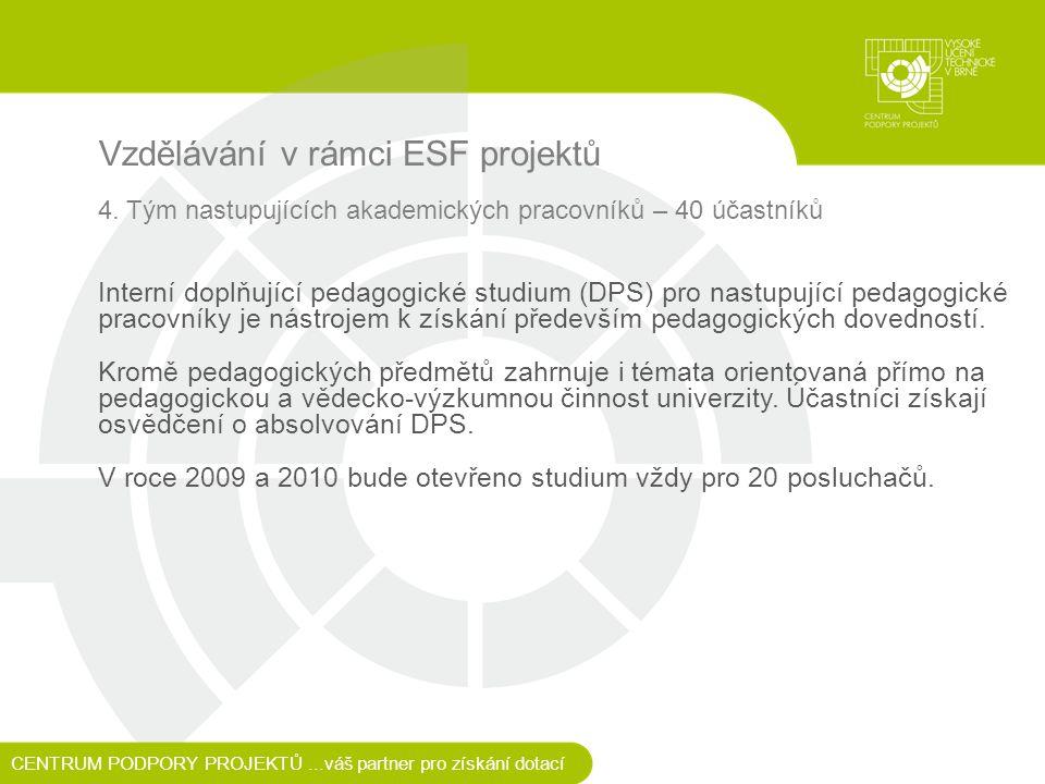 Vzdělávání v rámci ESF projektů 4.