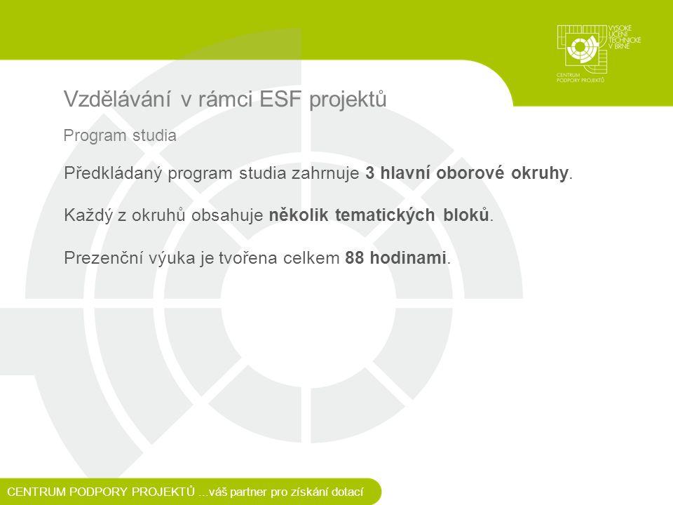 Vzdělávání v rámci ESF projektů CENTRUM PODPORY PROJEKTŮ...váš partner pro získání dotací Program studia Předkládaný program studia zahrnuje 3 hlavní oborové okruhy.