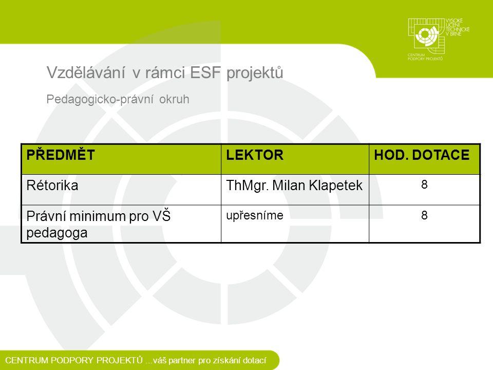 Vzdělávání v rámci ESF projektů CENTRUM PODPORY PROJEKTŮ...váš partner pro získání dotací Pedagogicko-právní okruh PŘEDMĚTLEKTORHOD.