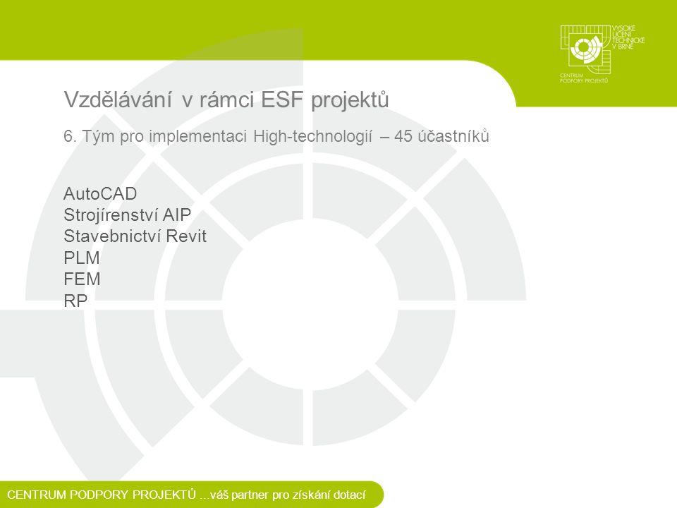 Vzdělávání v rámci ESF projektů 6.