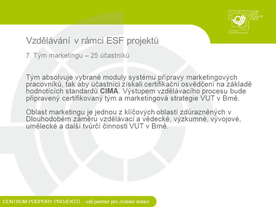 Vzdělávání v rámci ESF projektů 7.