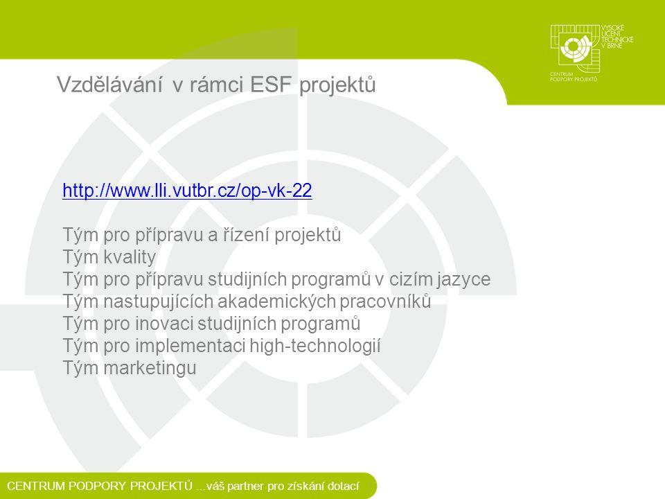 Vzdělávání v rámci ESF projektů http://www.lli.vutbr.cz/op-vk-22 Tým pro přípravu a řízení projektů Tým kvality Tým pro přípravu studijních programů v cizím jazyce Tým nastupujících akademických pracovníků Tým pro inovaci studijních programů Tým pro implementaci high-technologií Tým marketingu CENTRUM PODPORY PROJEKTŮ...váš partner pro získání dotací