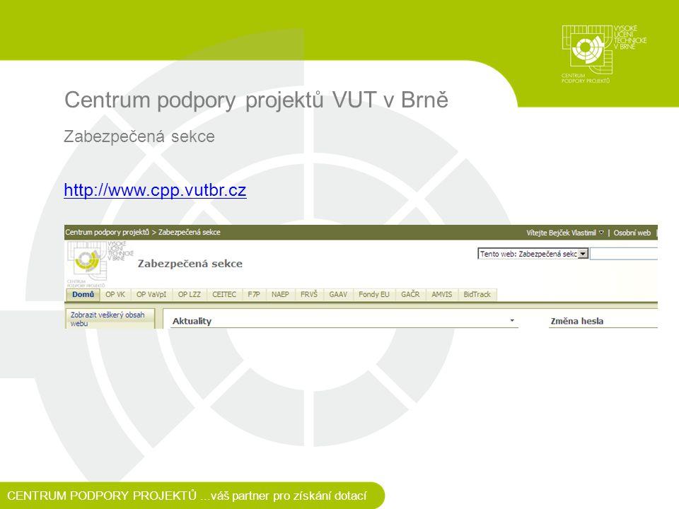 Centrum podpory projektů VUT v Brně Zabezpečená sekce http://www.cpp.vutbr.cz CENTRUM PODPORY PROJEKTŮ...váš partner pro získání dotací