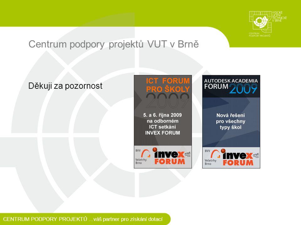 Centrum podpory projektů VUT v Brně Děkuji za pozornost CENTRUM PODPORY PROJEKTŮ...váš partner pro získání dotací