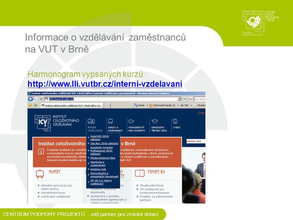 Informace o vzdělávání zaměstnanců na VUT v Brně CENTRUM PODPORY PROJEKTŮ...váš partner pro získání dotací Harmonogram vypsaných kurzů http://www.lli.vutbr.cz/interni-vzdelavani http://www.lli.vutbr.cz/interni-vzdelavani