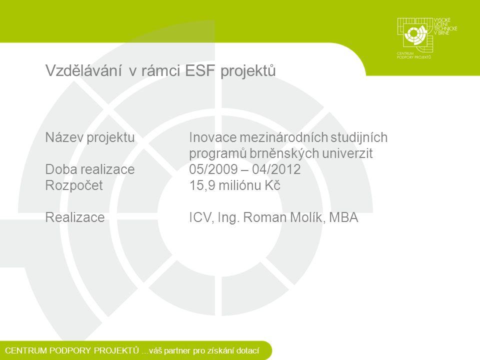 Vzdělávání v rámci ESF projektů Název projektu Inovace mezinárodních studijních programů brněnských univerzit Doba realizace 05/2009 – 04/2012 Rozpočet15,9 miliónu Kč RealizaceICV, Ing.