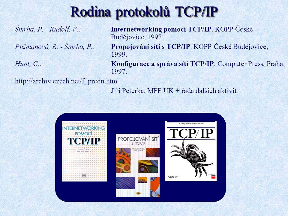 Rodina protokolů TCP/IP Šmrha, P. - Rudolf, V.: Internetworking pomocí TCP/IP. KOPP České Budějovice, 1997. Pužmanová, R. - Šmrha, P.: Propojování sít
