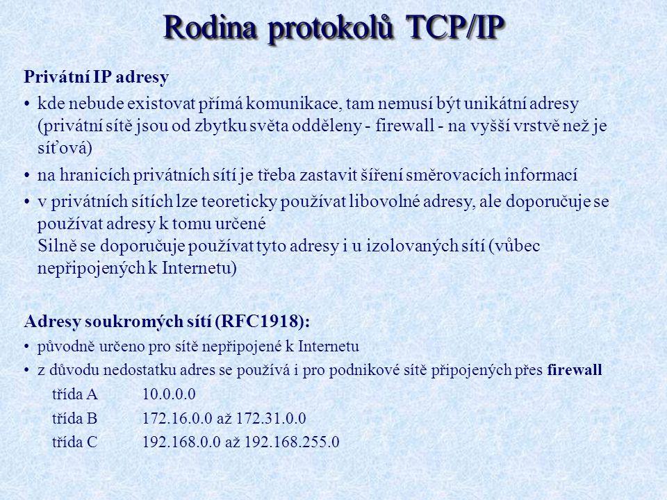 Privátní IP adresy kde nebude existovat přímá komunikace, tam nemusí být unikátní adresy (privátní sítě jsou od zbytku světa odděleny - firewall - na