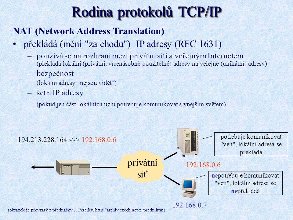 Rodina protokolů TCP/IP NAT (Network Address Translation) překládá (mění