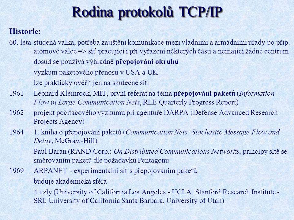 Rodina protokolů TCP/IP Historie: 60. létastudená válka, potřeba zajištění komunikace mezi vládními a armádními úřady po příp. atomové válce => síť pr