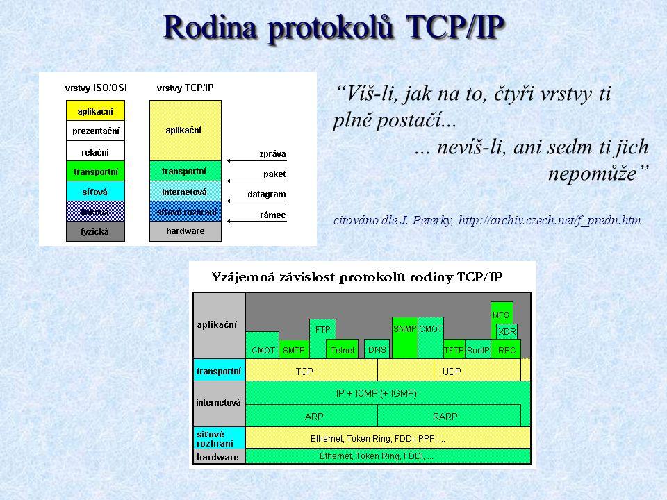 """Rodina protokolů TCP/IP """"Víš-li, jak na to, čtyři vrstvy ti plně postačí...... nevíš-li, ani sedm ti jich nepomůže"""" citováno dle J. Peterky, http://ar"""