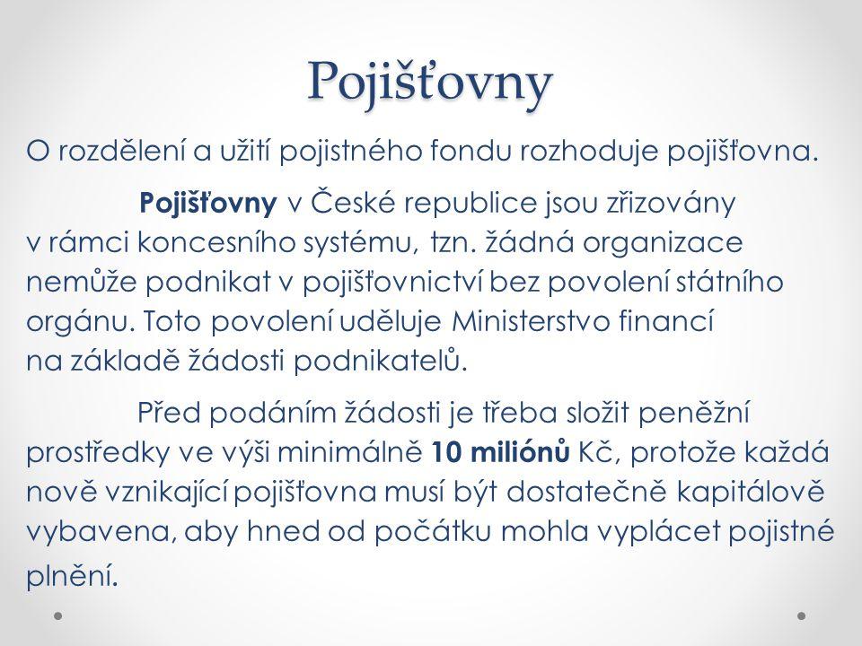 O rozdělení a užití pojistného fondu rozhoduje pojišťovna. Pojišťovny v České republice jsou zřizovány v rámci koncesního systému, tzn. žádná organiza