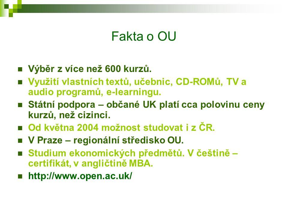 Fakta o OU 160 jednoduchých devítiměsíčních kurzů, 30 dvouletých diplomových kurzů, více než 20 postgraduálních kurzů. Certificates, diplomas, BA, BSc
