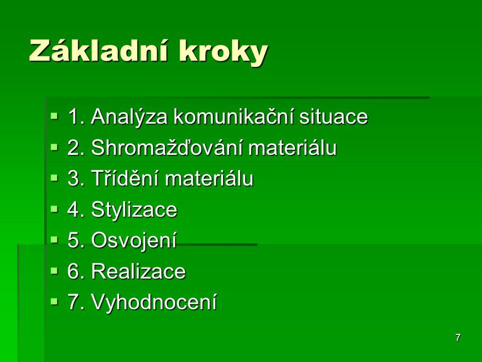 7 Základní kroky  1. Analýza komunikační situace  2. Shromažďování materiálu  3. Třídění materiálu  4. Stylizace  5. Osvojení  6. Realizace  7.