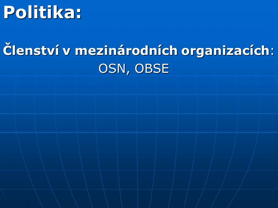 Politika: Členství v mezinárodních organizacích: OSN, OBSE OSN, OBSE