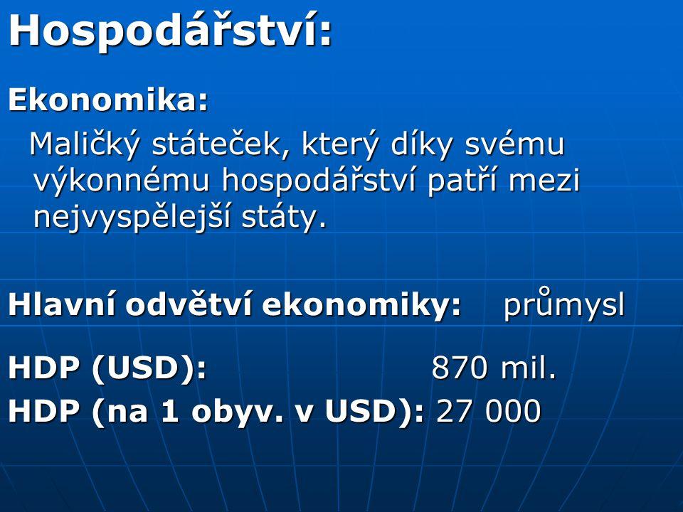 Hospodářství:Ekonomika: Maličký státeček, který díky svému výkonnému hospodářství patří mezi nejvyspělejší státy.