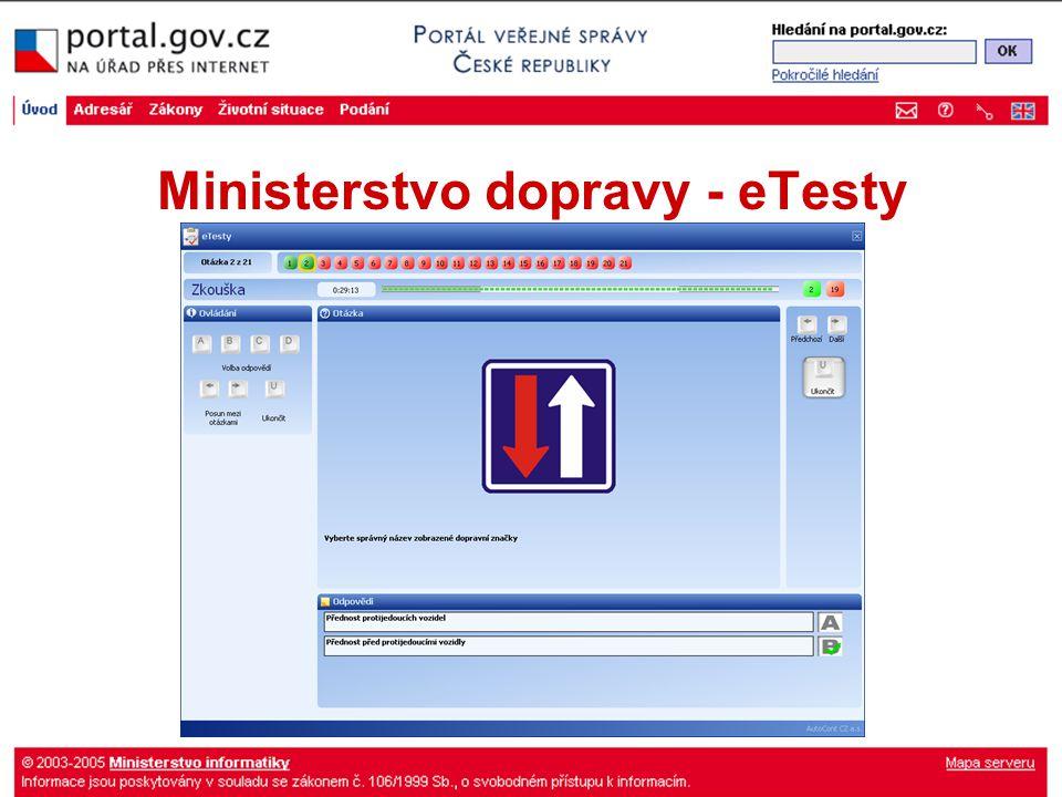 Ministerstvo dopravy - eTesty