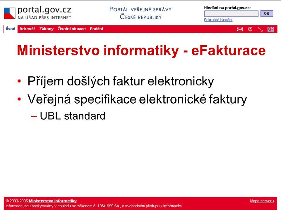 Ministerstvo informatiky - eFakturace Příjem došlých faktur elektronicky Veřejná specifikace elektronické faktury –UBL standard