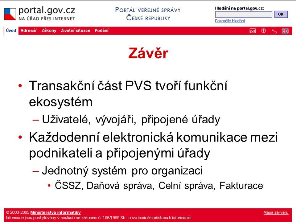 Závěr Transakční část PVS tvoří funkční ekosystém –Uživatelé, vývojáři, připojené úřady Každodenní elektronická komunikace mezi podnikateli a připojen