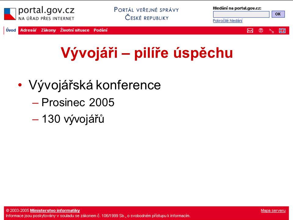 Vývojáři – pilíře úspěchu Vývojářská konference –Prosinec 2005 –130 vývojářů
