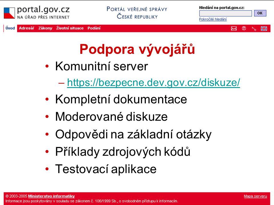 Podpora vývojářů Komunitní server –https://bezpecne.dev.gov.cz/diskuze/https://bezpecne.dev.gov.cz/diskuze/ Kompletní dokumentace Moderované diskuze O