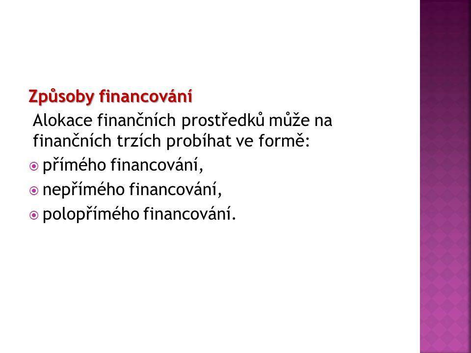 Způsoby financování Alokace finančních prostředků může na finančních trzích probíhat ve formě:  přímého financování,  nepřímého financování,  polop