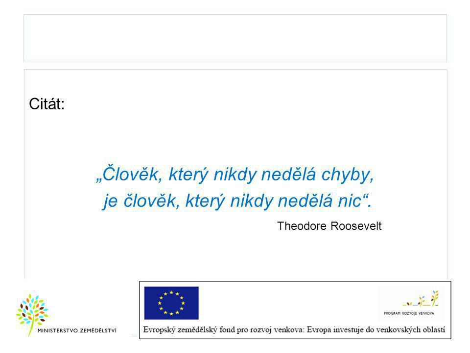 """Citát: """"Člověk, který nikdy nedělá chyby, je člověk, který nikdy nedělá nic . Theodore Roosevelt"""