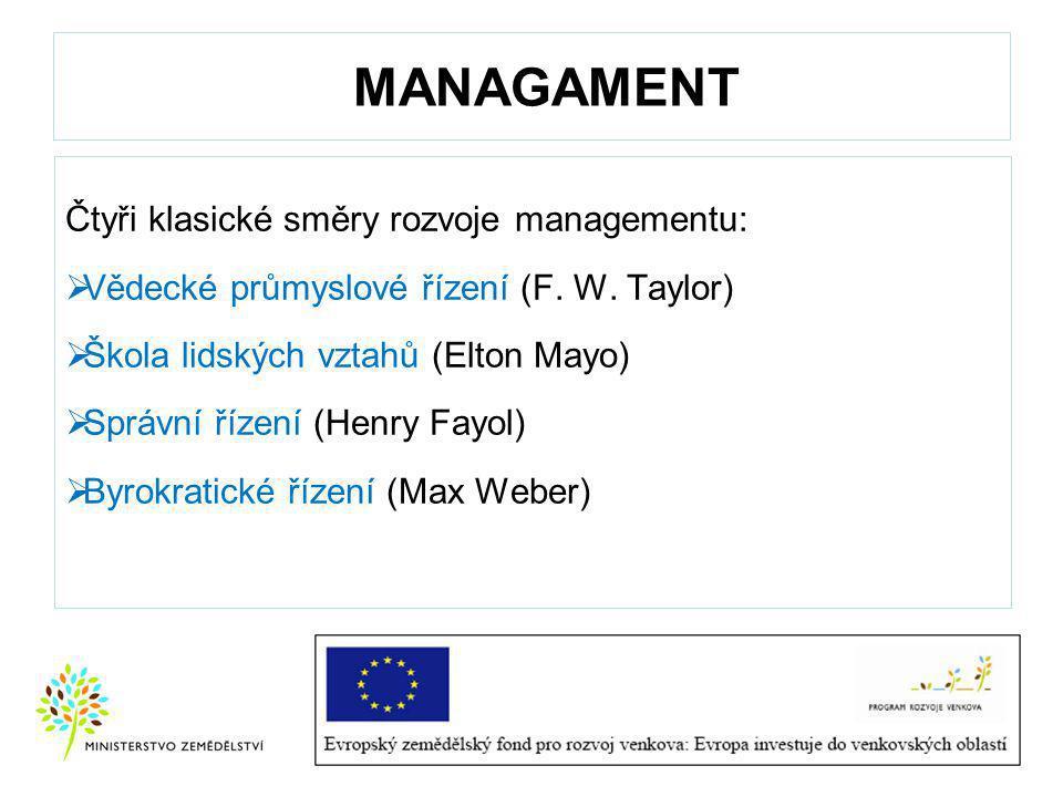 MANAGAMENT Čtyři klasické směry rozvoje managementu:  Vědecké průmyslové řízení (F.
