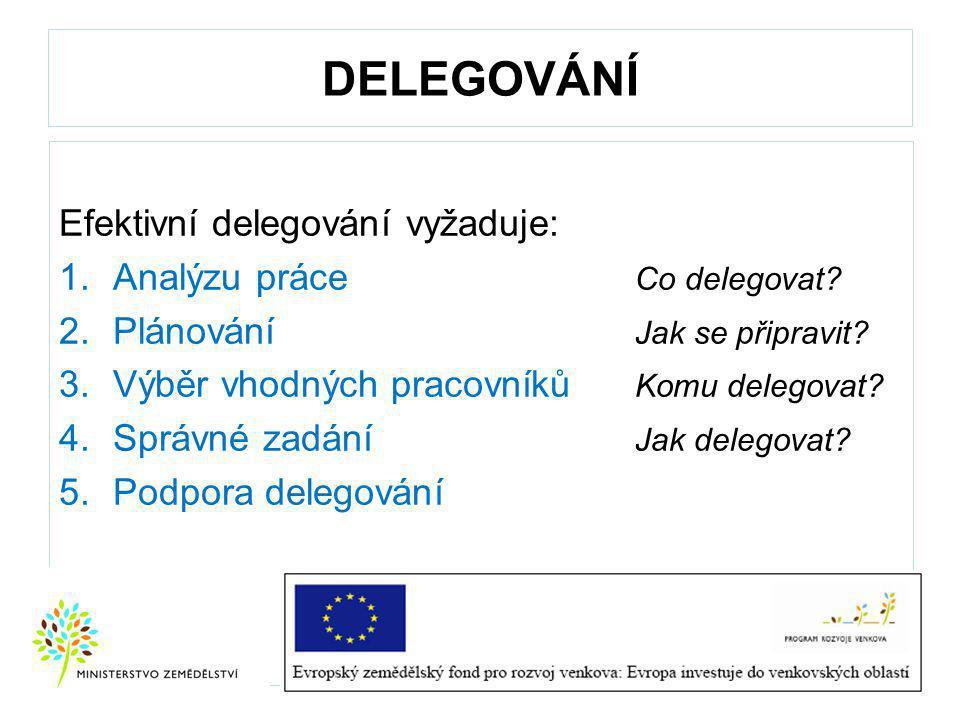DELEGOVÁNÍ Efektivní delegování vyžaduje: 1.Analýzu práce Co delegovat.