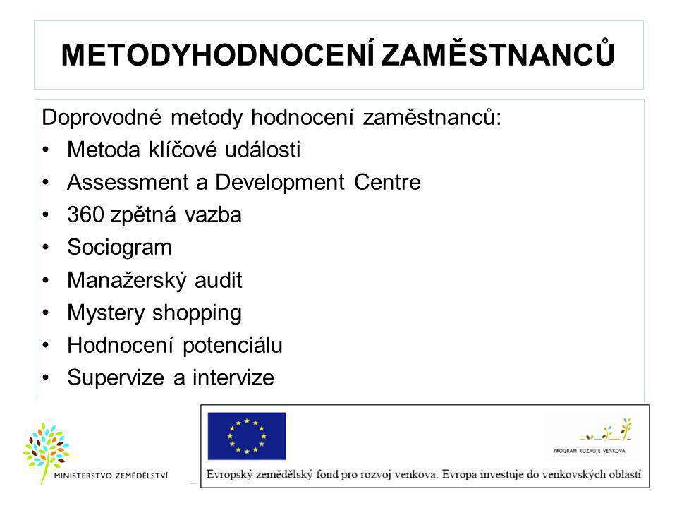METODYHODNOCENÍ ZAMĚSTNANCŮ Doprovodné metody hodnocení zaměstnanců: Metoda klíčové události Assessment a Development Centre 360 zpětná vazba Sociogram Manažerský audit Mystery shopping Hodnocení potenciálu Supervize a intervize