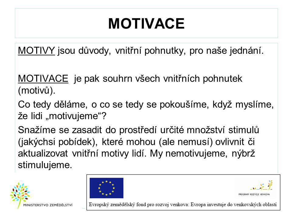 MOTIVACE MOTIVY jsou důvody, vnitřní pohnutky, pro naše jednání.