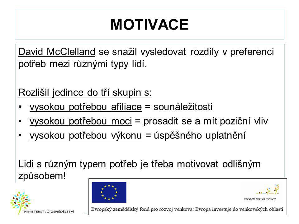 MOTIVACE David McClelland se snažil vysledovat rozdíly v preferenci potřeb mezi různými typy lidí.