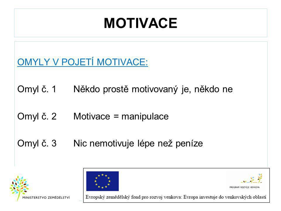 MOTIVACE OMYLY V POJETÍ MOTIVACE: Omyl č.1 Někdo prostě motivovaný je, někdo ne Omyl č.