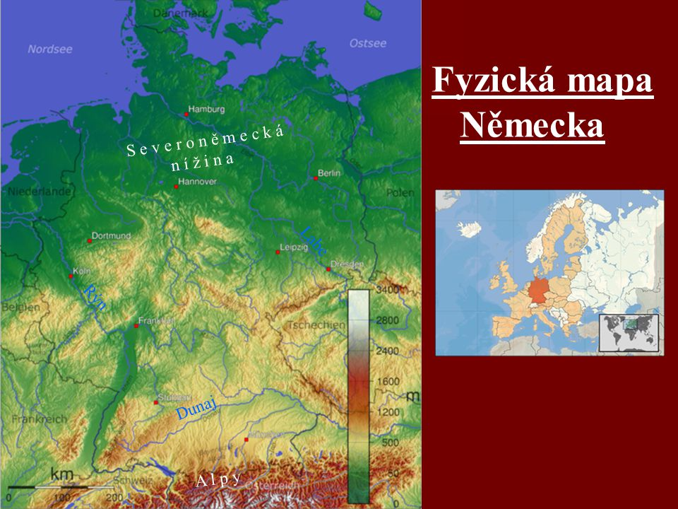 Fyzická mapa Německa A l p y S e v e r o n ě m e c k á n í ž i n a Rýn Labe Dunaj