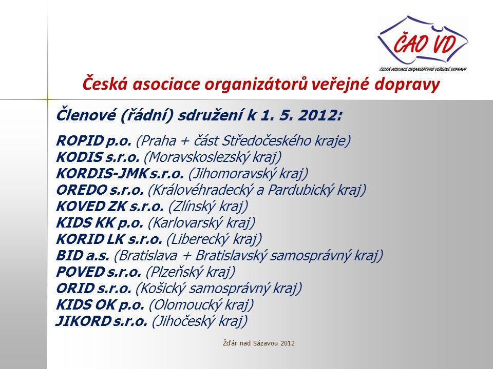 Česká asociace organizátorů veřejné dopravy Členové (řádní) sdružení k 1.