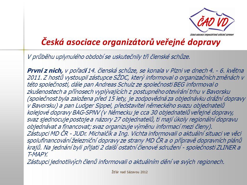 Česká asociace organizátorů veřejné dopravy V průběhu uplynulého období se uskutečnily tři členské schůze.