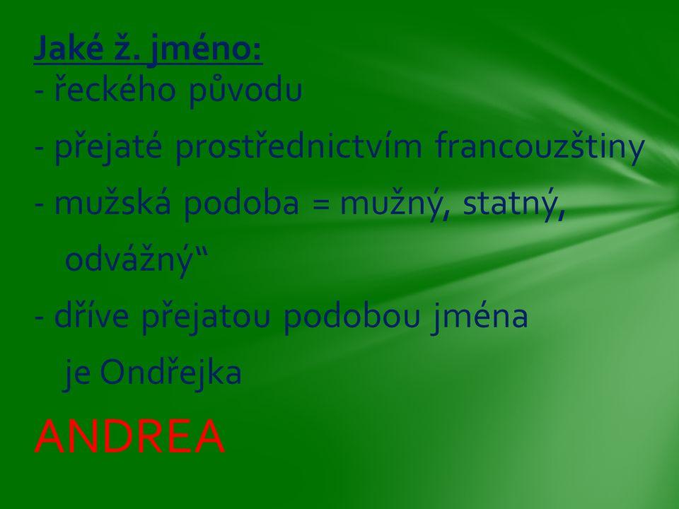 """- řeckého původu - přejaté prostřednictvím francouzštiny - mužská podoba = mužný, statný, odvážný"""" - dříve přejatou podobou jména je Ondřejka ANDREA J"""