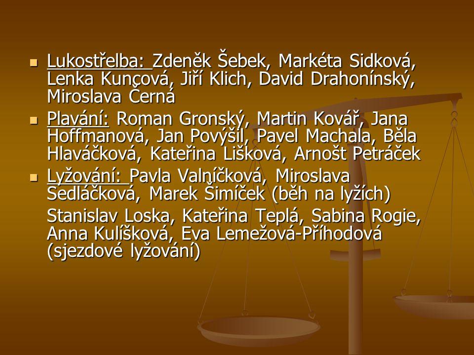 Lukostřelba: Zdeněk Šebek, Markéta Sidková, Lenka Kuncová, Jiří Klich, David Drahonínský, Miroslava Černá Lukostřelba: Zdeněk Šebek, Markéta Sidková,