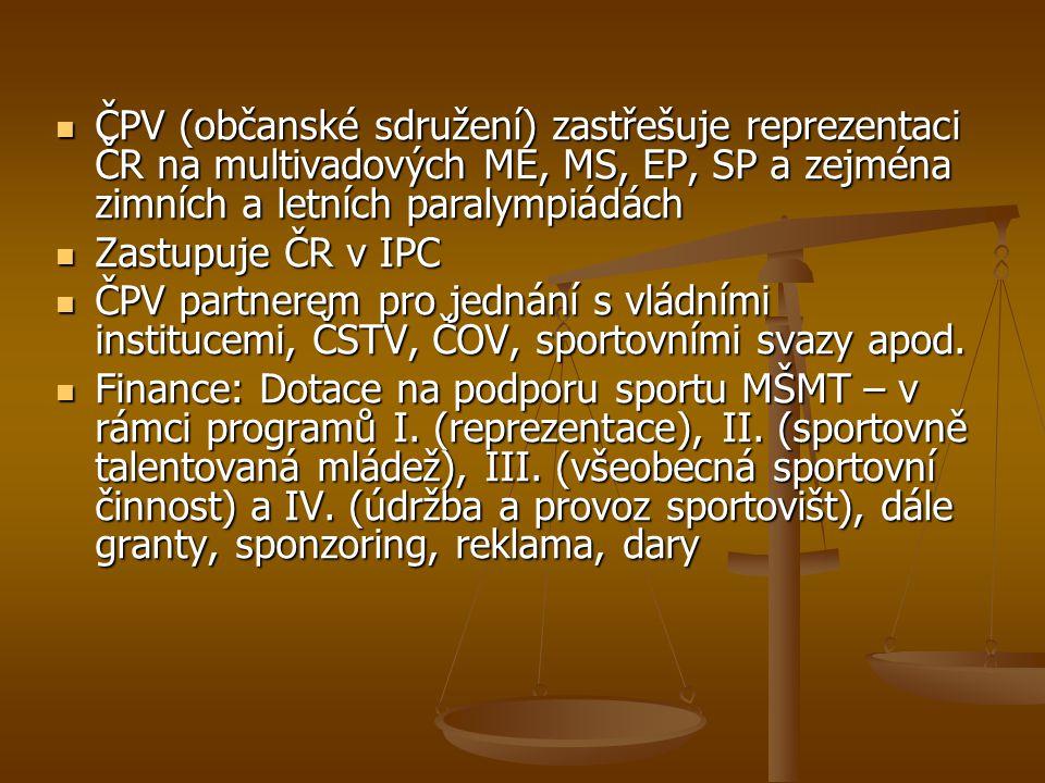 ČPV (občanské sdružení) zastřešuje reprezentaci ČR na multivadových ME, MS, EP, SP a zejména zimních a letních paralympiádách ČPV (občanské sdružení)
