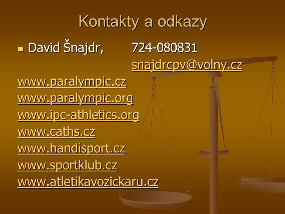Kontakty a odkazy David Šnajdr, 724-080831 David Šnajdr, 724-080831 snajdrcpv@volny.cz www.paralympic.cz www.paralympic.org www.ipc-athletics.org www.