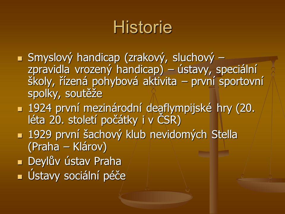 Historie Smyslový handicap (zrakový, sluchový – zpravidla vrozený handicap) – ústavy, speciální školy, řízená pohybová aktivita – první sportovní spol