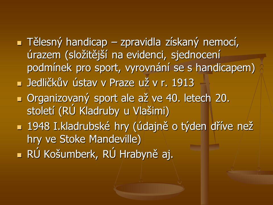 Některé z oficiálních akcí pořádaných v ČR 1995 – ME v atletickém pětiboji vozíčkářů (Nové Město nad Metují) 2000 – ME sk.