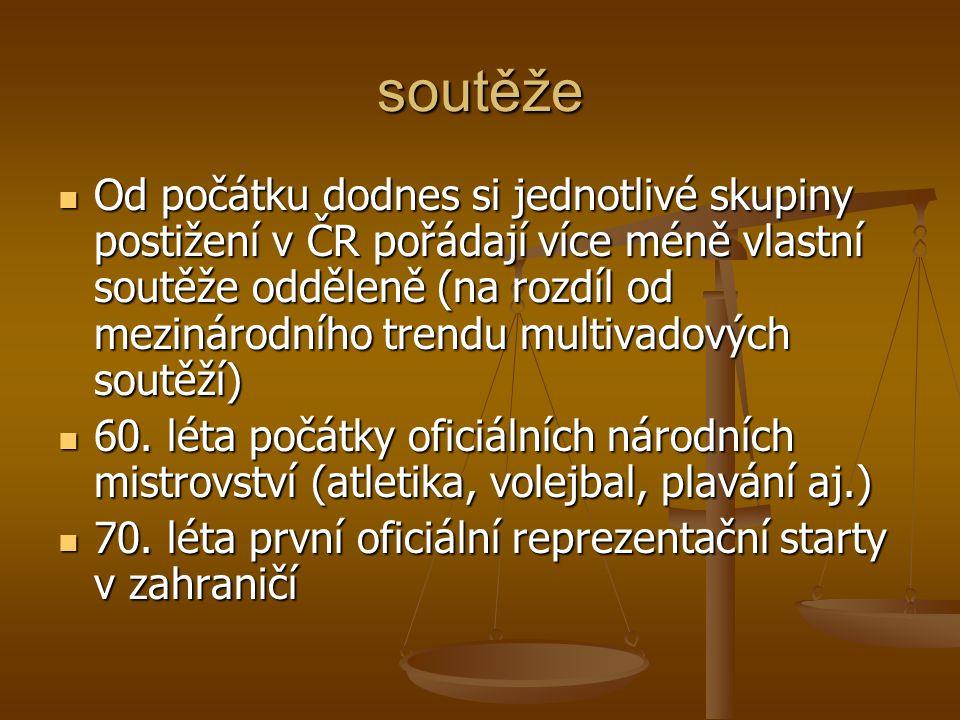 soutěže Od počátku dodnes si jednotlivé skupiny postižení v ČR pořádají více méně vlastní soutěže odděleně (na rozdíl od mezinárodního trendu multivad