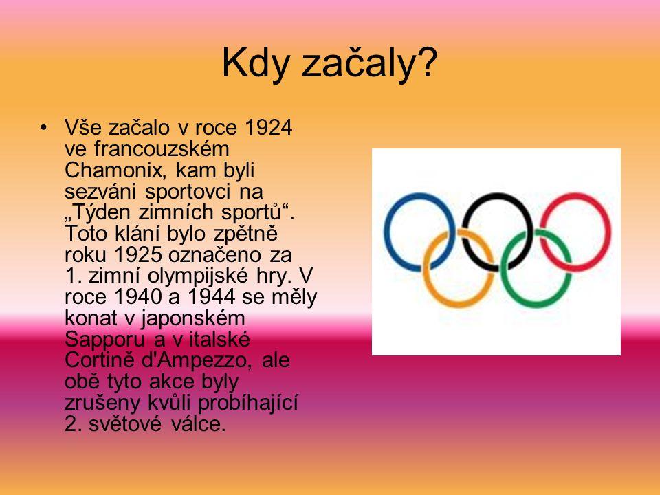 """Kdy začaly? Vše začalo v roce 1924 ve francouzském Chamonix, kam byli sezváni sportovci na """"Týden zimních sportů"""". Toto klání bylo zpětně roku 1925 oz"""