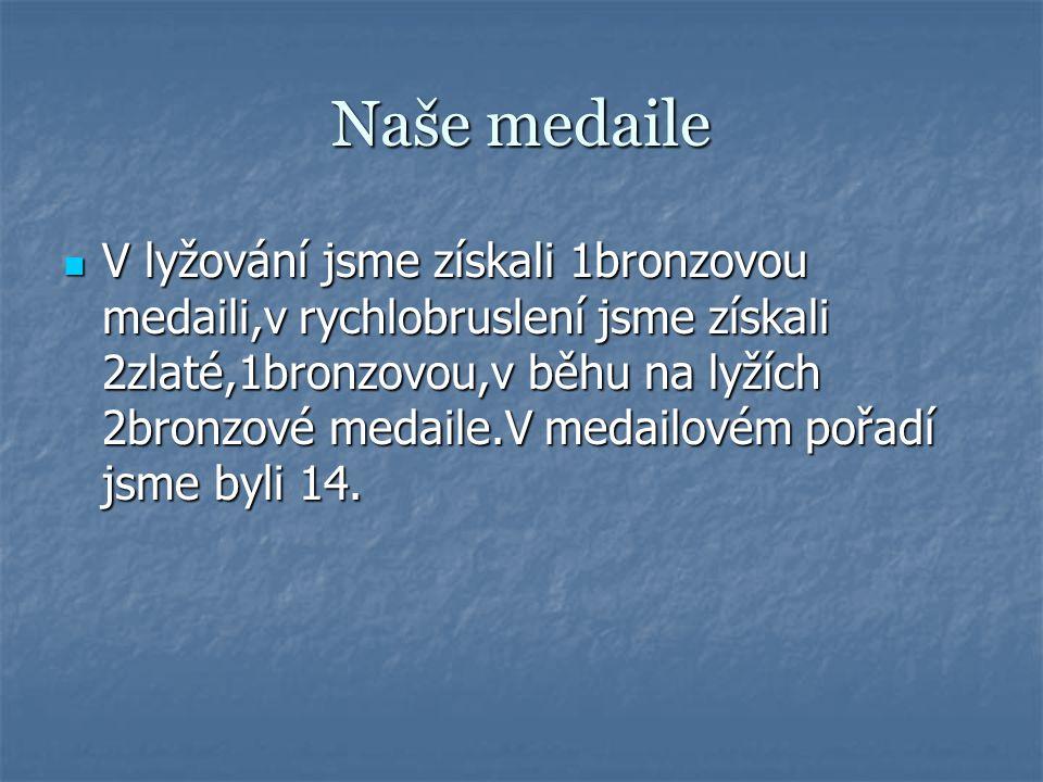 Naše medaile V lyžování jsme získali 1bronzovou medaili,v rychlobruslení jsme získali 2zlaté,1bronzovou,v běhu na lyžích 2bronzové medaile.V medailovém pořadí jsme byli 14.
